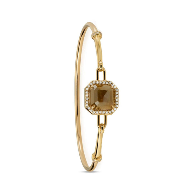 COLORED DIAMOND, 18K YELLOW GOLD BANGLE