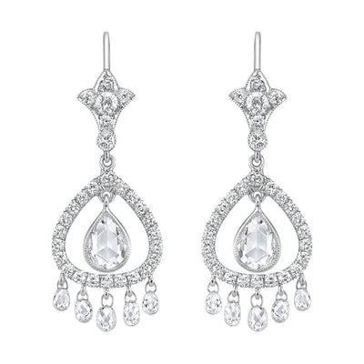 NEIL LANE BRIOLETTE, PEAR-SHAPED & ROSE-CUT DIAMOND, PLATINUM EARRINGS