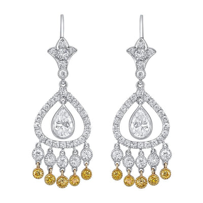NEIL LANE YELLOW & WHITE DIAMOND, PLATINUM EARRINGS