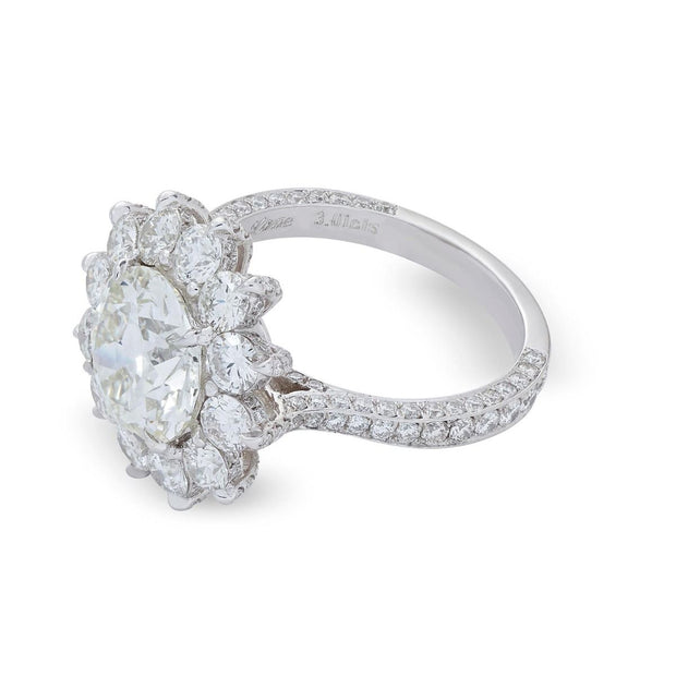 NEIL LANE COUTURE DESIGN ROUND-CUT DIAMOND, PLATINUM ENGAGEMENT RING