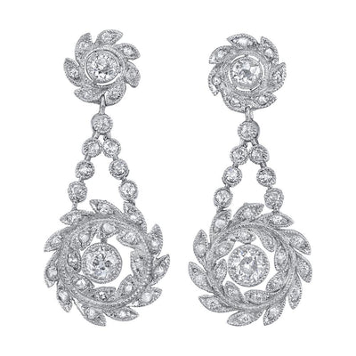 EDWARDIAN DIAMOND, PLATINUM EARRINGS