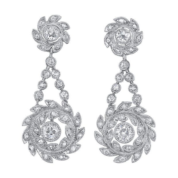 Neil Lane Couture Edwardian Diamond, Platinum Earrings