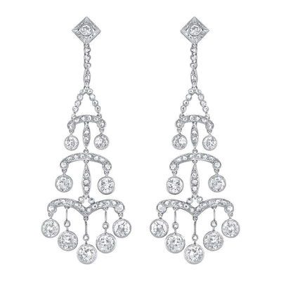 EDWARDIAN DIAMOND, PLATINUM CHANDELIER EARRINGS