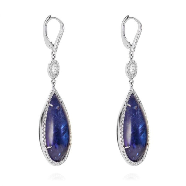 NEIL LANE TANZANITE, DIAMOND, 18K WHITE GOLD EARRINGS