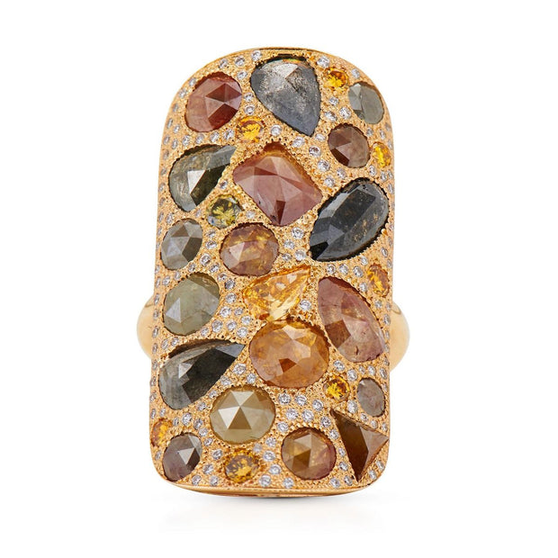 MOSAIC DIAMOND, 18K YELLOW GOLD RING
