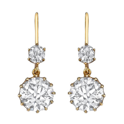 VINTAGE OLD EUROPEAN-CUT DIAMOND, YELLOW GOLD EARRINGS
