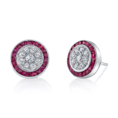 Neil Lane Couture Diamond, Ruby, Platinum Stud Earrings