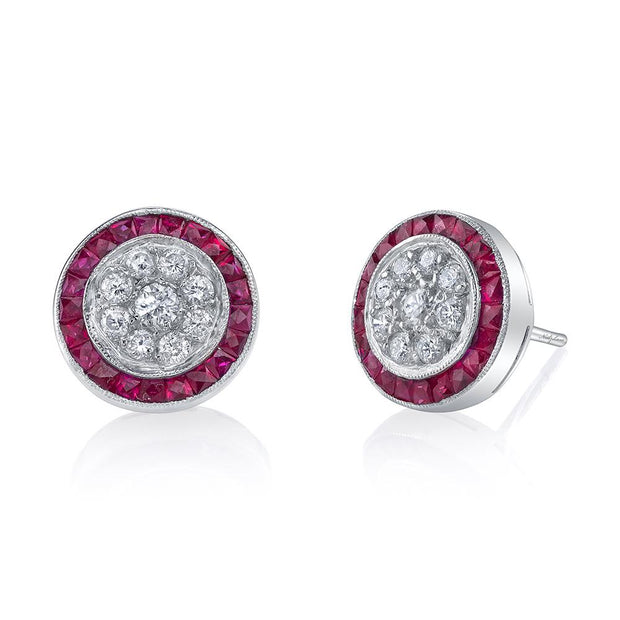 NEIL LANE DIAMOND, RUBY, PLATINUM STUD EARRINGS