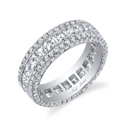 French & Round-Cut Diamond, Platinum Wedding Band