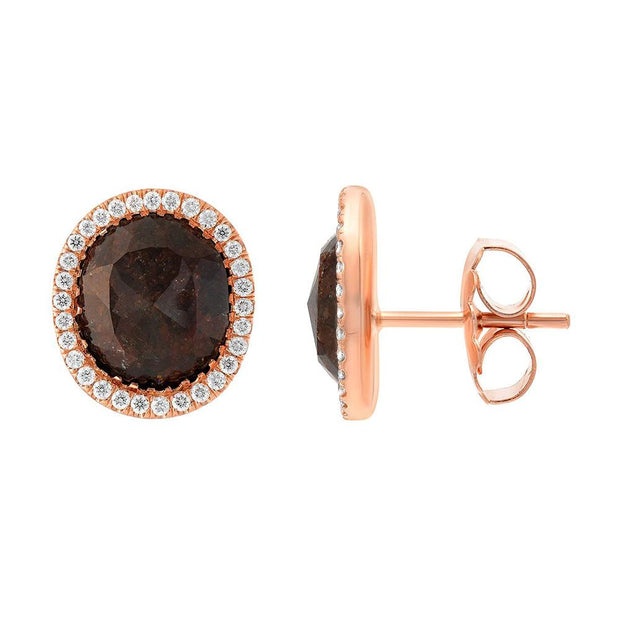NEIL LANE BROWN DIAMOND, 18K ROSE GOLD EARRINGS