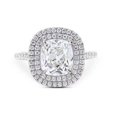 CUSHION-CUT DIAMOND, PLATINUM ENGAGEMENT RING