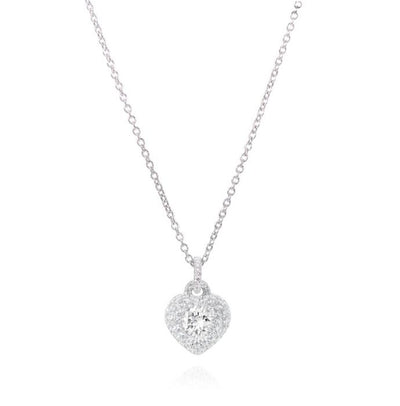 DIAMOND PAVE HEART, PLATINUM PENDANT