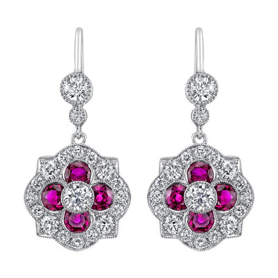 NEIL LANE RUBY, DIAMOND, PLATINUM EARRINGS