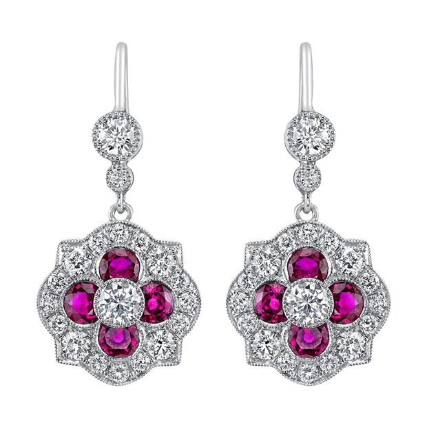 Pair of Diamond, Ruby, Platinum Earrings
