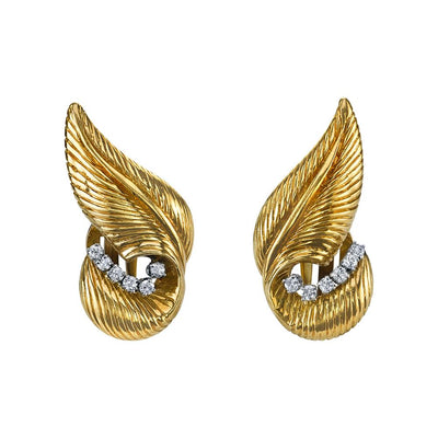 Pair of Mid-Century Diamond, 14k Yellow Gold Leaf Earrings