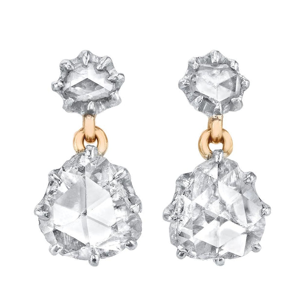 ANTIQUE ROSE-CUT DIAMOND, GOLD, PLATINUM EARRINGS