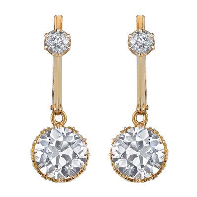 ANTIQUE OLD EUROPEAN-CUT DIAMOND, 18K YELLOW GOLD EARRINGS