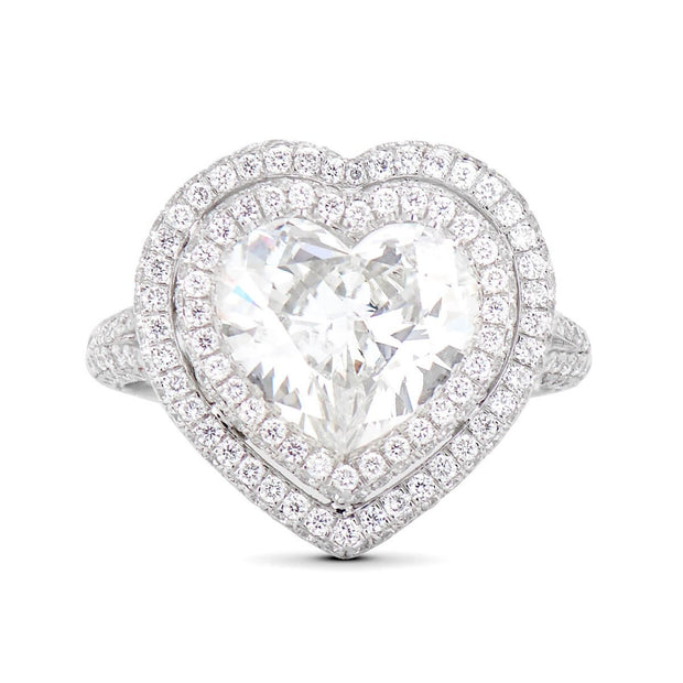NEIL LANE HEART SHAPED DIAMOND, PLATINUM ENGAGEMENT RING