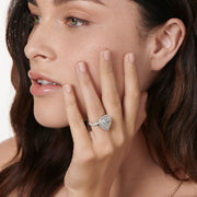 NEIL LANE HEAR SHAPED DIAMOND, PLATINUM ENGAGEMENT RING