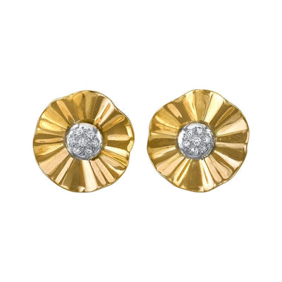 Pair of Retro Diamond, 14k White & Yellow Gold Earring