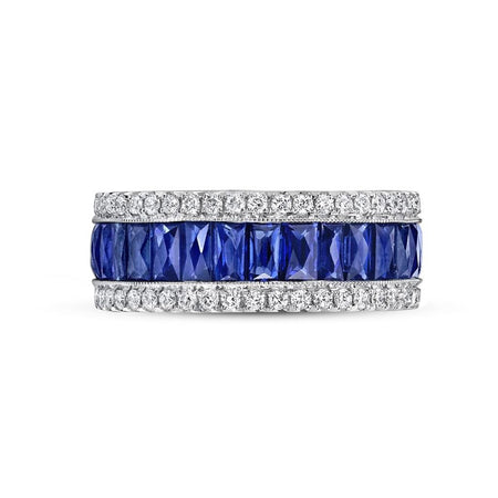 SAPPHIRE AND DIAMOND PLATINUM ETERNITY BAND