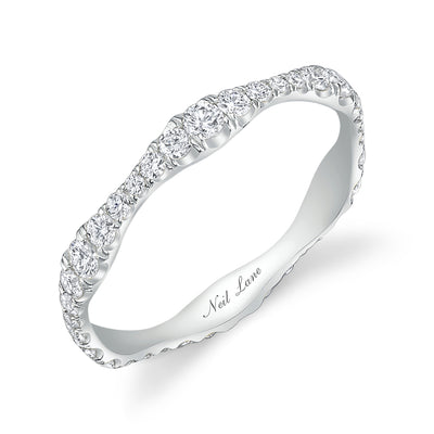 Wavy Platinum Round Diamond Eternity Band