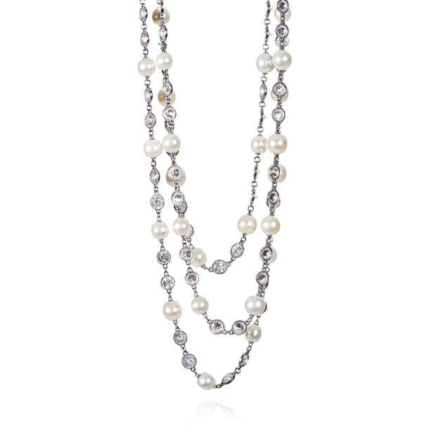Neil Lane Couture Diamond And Pearl, Platinum Necklace