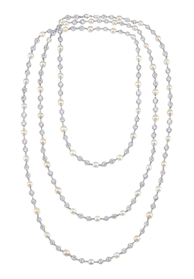 DIAMOND AND PEARL, PLATINUM NECKLACE