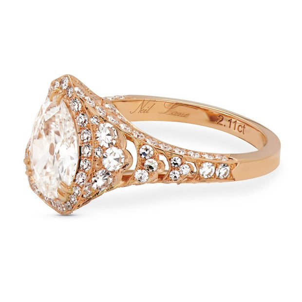 Neil Lane Couture Design Pear-Shaped Diamond, 18K Rose Gold Engagement Ring