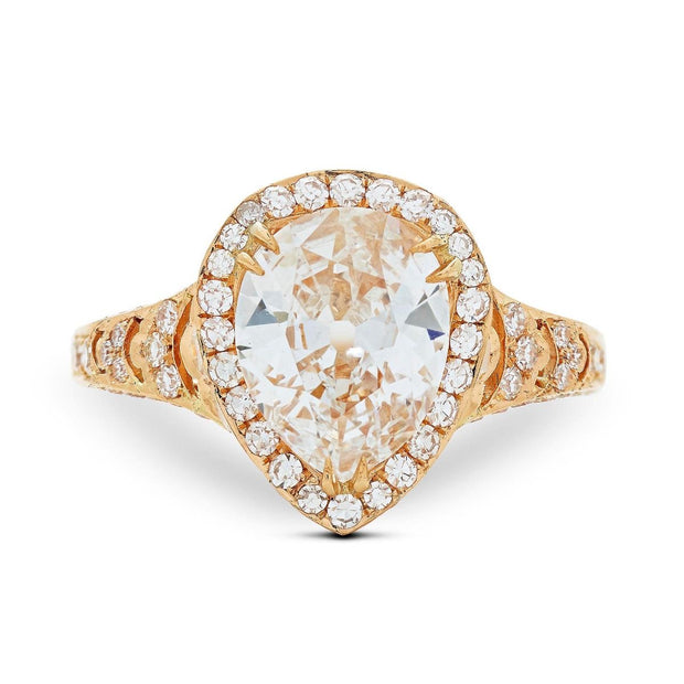 NEIL LANE VINTAGE PEAR SHAPED DIAMOND ENGAGEMENT RING