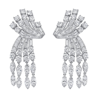 MID-CENTURY DIAMOND, PLATINUM EARRINGS