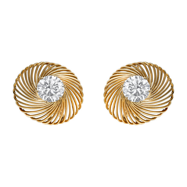 Neil Lane Couture Mid-Century Diamond, 18K Yellow Gold Earrings
