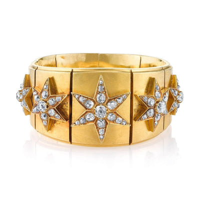 ANTIQUE MELLARIO PARIS DIAMOND, 18K GOLD BRACELET