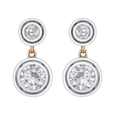 ANTIQUE DIAMOND, YELLOW GOLD, PLATINUM EARRINGS