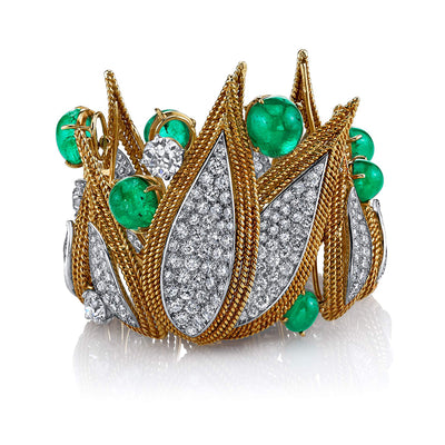 Cabochon & Diamonds Cuff Bracelet
