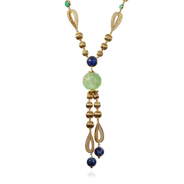 MID-CENTURY FRENCH EMERALD, SAPPHIRE, 18K GOLD TORSADE NECKLACE