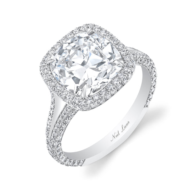 NEIL LANE CUSHION-SHAPED DIAMOND, PLATINUM RING