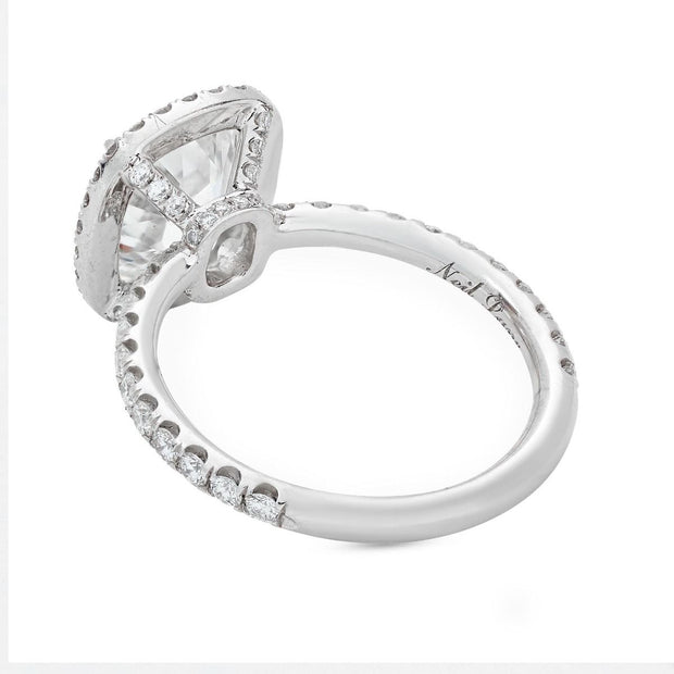 CUSHION DIAMOND AND PLATINUM ENGAGEMENT RING