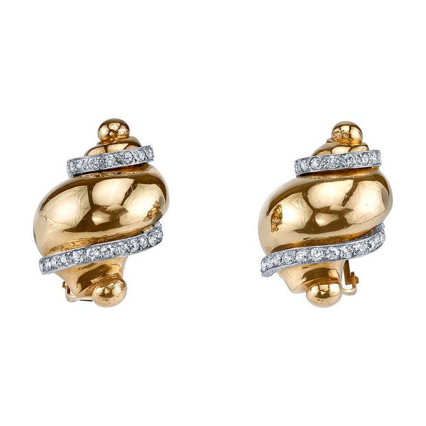 Pair of Seaman Schepps Diamond, 18k Yellow Gold Earrings