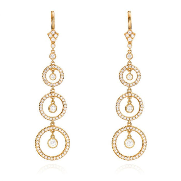 DIAMOND, 18K YELLOW GOLD STYLIZED HOOP EARRINGS