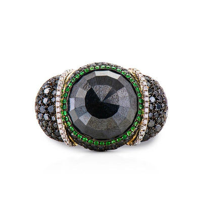 TSAVORITE AND BLACK DIAMOND, 18K WHITE GOLD RING