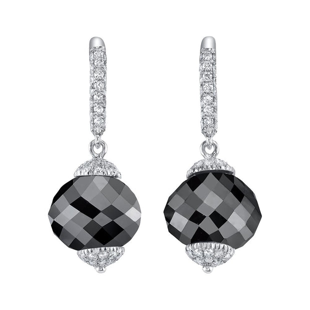 NEIL LANE BLACK & WHITE DIAMOND, PLATINUM EARRINGS