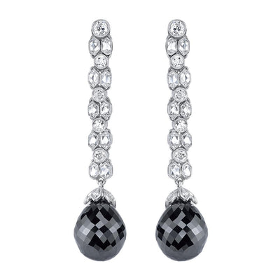 NEIL LANE BRIOLETTE BLACK DIAMOND, WHITE DIAMOND, PLATINUM EARRINGS