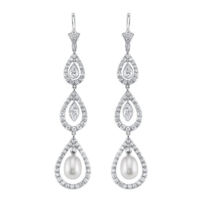 NEIL LANE NATURAL PEARL, DIAMOND, PLATINUM PENDANT EARRINGS