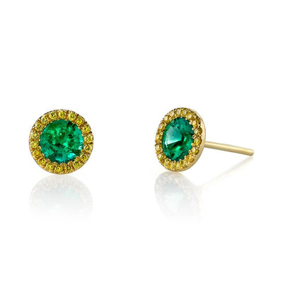 NEIL LANE EMERALD, YELLOW DIAMOND, 18K YELLOW GOLD EARRINGS