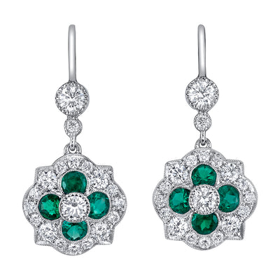 NEIL LANE EMERALD, DIAMOND, PLATINUM EARRINGS