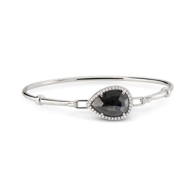 NEIL LANE DESIGN BLACK DIAMOND, 18K WHITE GOLD BANGLE BRACELET