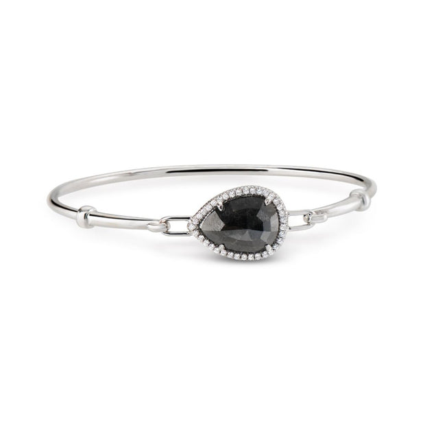 BLACK DIAMOND AND 18K WHITE GOLD BANGLE BRACELET