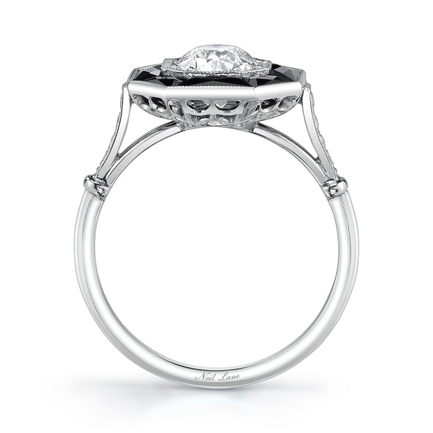 NEIL LANE OLD EUROPEAN-CUT DIAMOND, ONYX, PLATINUM RING