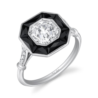 Neil Lane Couture Design Art Deco Style Old European-Cut Diamond, Onyx, Platinum Ring